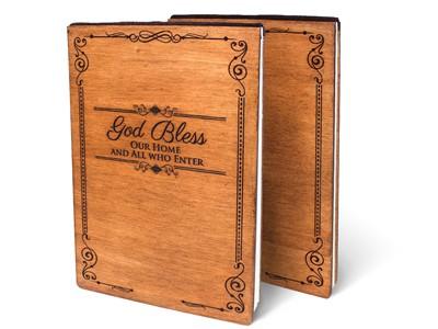 Дървен тефтер - God Bless (L) [Подаръци/Сувенири]