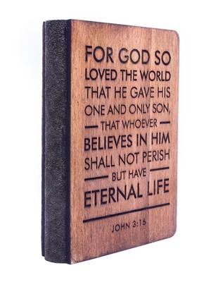 Дървен бележник - John 3:16 Verse [Подаръци/Сувенири]