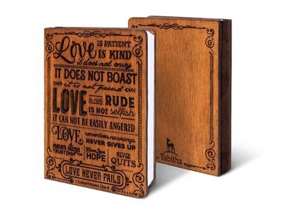 Дървен тефтер - 1 Corinthians 13:4-8 (S) [Подаръци/Сувенири]