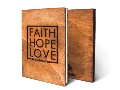 Дървен тефтер - Faith, Hope, Love (М) [Подаръци/Сувенири]