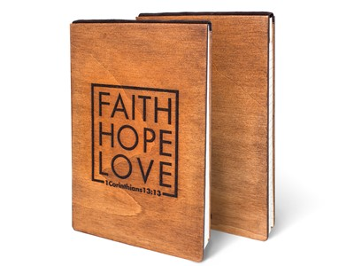 Дървен тефтер - Faith, Hope, Love (L) [Подаръци/Сувенири]