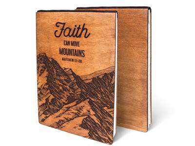 Дървен тефтер - Faith, Can Move Mountains (L) [Подаръци/Сувенири]