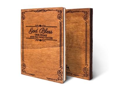 Дървен тефтер - God Bless (M) [Подаръци/Сувенири]