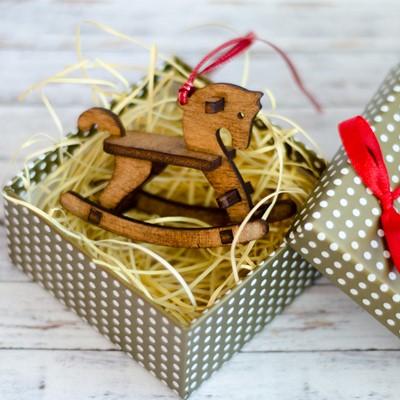 Дървена играчка за елха - детско конче [Подаръци/Сувенири]