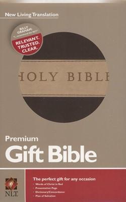 NLT Premium Gift Bible-Soft leather-look, Dark Brown/Tan