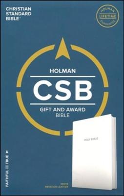 CSB Gift & Award Bible, White Imitation Leather