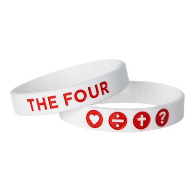 Гривна THE FOUR - бял цвят с червено - 190мм [Подаръци/Сувенири]