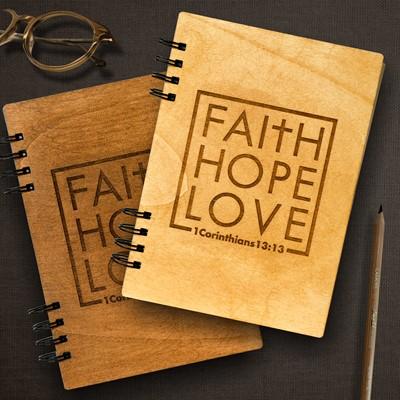 Тефтер с дървени корици - 1 Corinthians 13:13 [Подаръци/Сувенири]