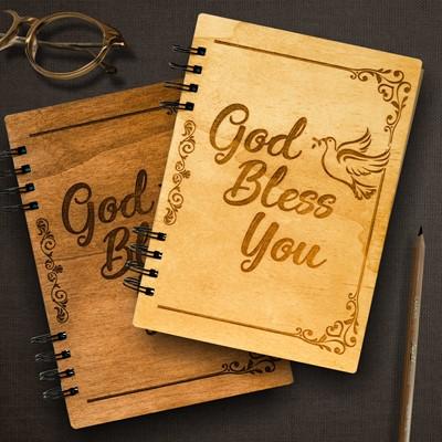 Тефтер с дървени корици - God Bless You [Подаръци/Сувенири]