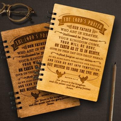 Тефтер с дървени корици - Mattew 6:9-13 [Подаръци/Сувенири]