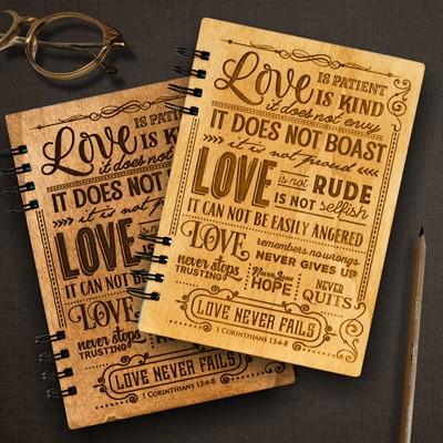 Тефтер с дървени корици - 1 Corinthians 13:4-8 [Подаръци/Сувенири]