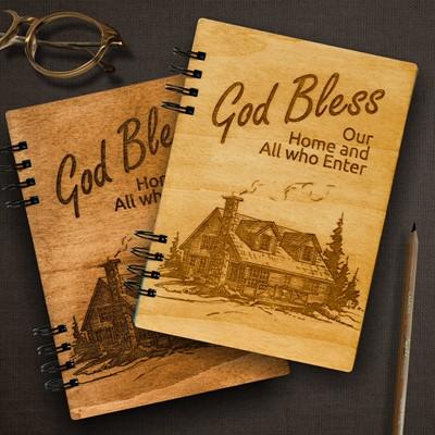 Тефтер с дървени корици -  God Bless Our Home [Подаръци/Сувенири]