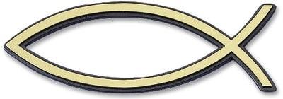 Рибка за кола - златист цвят (голяма с черен кант) [Подаръци/Сувенири]