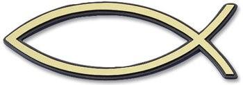 Рибка за кола - златист цвят (малка с черен кант) [Подаръци/Сувенири]