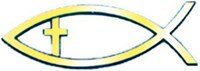 Рибка за кола - Златист цвят с кръстче