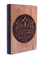 Дървен бележник - Faith, Hope, Love (2) [Подаръци/Сувенири]