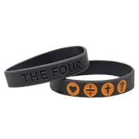 Гривна THE FOUR - сив цвят с оранжево - 180мм
