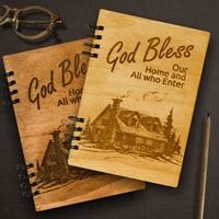 Тефтер с дървени корици -  God Bless Our Home