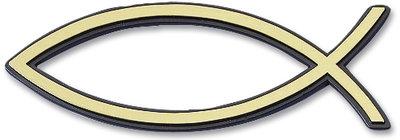 Рибка за кола - златист цвят (голяма с черен кант)