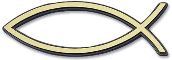 Рибка за кола - златист цвят (малка с черен кант)