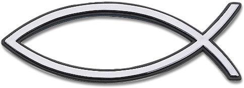 Рибка за кола - сребрист цвят (голяма с черен кант)